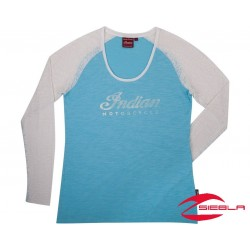 WOMENS LOGO BURNOUT LONG SLEEVE TEE - BLUE/WHITE BY INDIAN MOTORCYCLE
