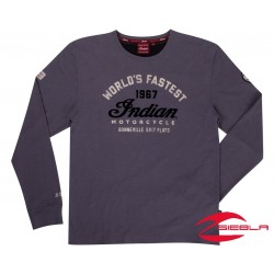 MENS HERITAGE MUNRO LONG SLEEVE TEE- GRAY BY INDIAN MOTORCYCLE