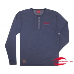 MENS BLUE LONG SLEEVE HENLEY TEE BY INDIAN MOTORCYCLE®