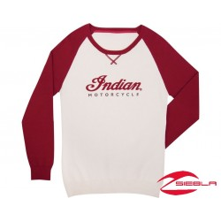 WOMEN'S COLOR BLOCK KNIT-WHITE/RED BY INDIAN MOTORCYCLE