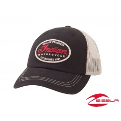QUALITY TRUCKER HAT - BLACK/WHITE BY INDIAN MOTORCYCLE