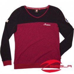 LADIES HERITAGE V-NECK TEE - RED BY INDIAN MOTORCYCLES