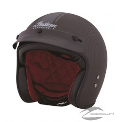 Open Face Carbon Fiber Retro Helmet with Stripes, Black
