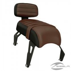 Genuine Leather Passenger Seat with Sissy Bar - Brown By Indian Scout Bobber